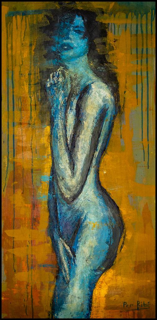 pintura figurativa moderna que representa la imagen de una mujer estilizada y desnuda