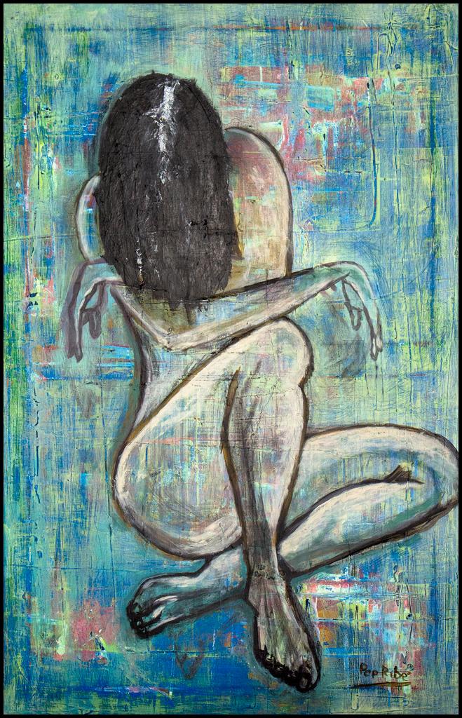 Mujer turbada cuadro acrílico pintura en tonos azules turquesa que representa una mujer sentada escondiendo su rostro