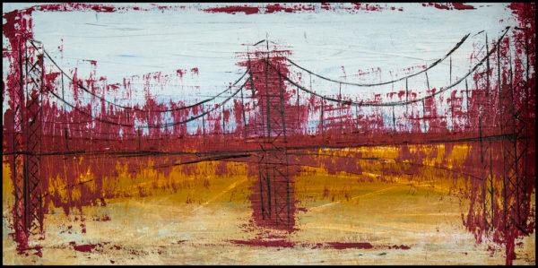 El Puente cuadro semi abstracto que representa un puente flotante, en un paisaje árido
