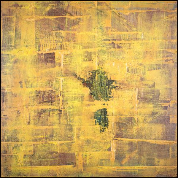 cuadro abstracto decorativo de un muro envejecido de ladrillos, en el que se empieza a apreciar la vista del otro lado