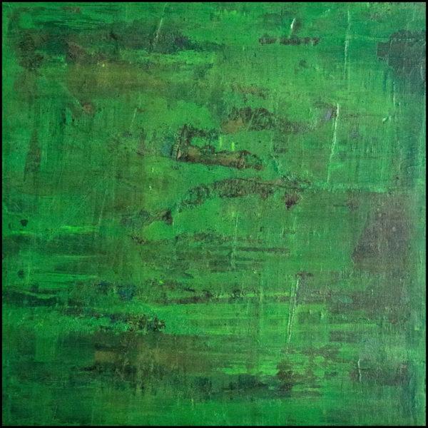 abstracto acrílico sobre lienzo de un bosque, que su vegetación ha ganado la partida a la civilización