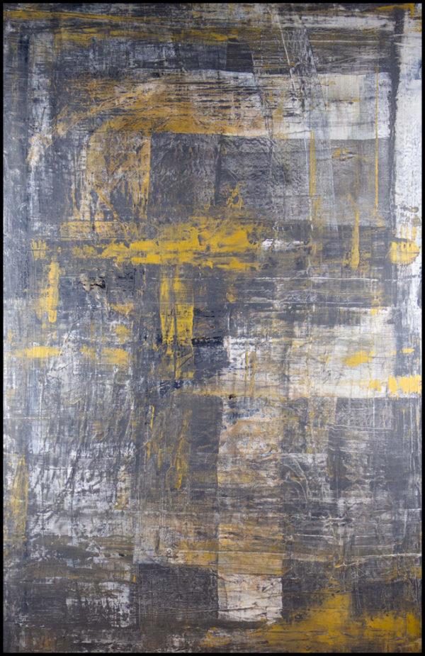 cuadro abstracto acrílico sobre lienzo representa el hallazgo de la riqueza de entre las cenizas