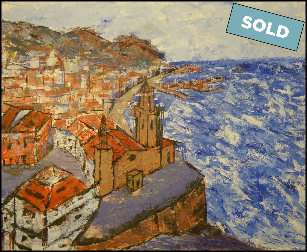 Vista aérea del centro histórico, la playa de San Sebastián y el puerto de Aiguadolç de Sitges