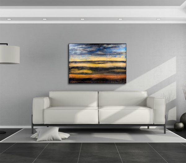 cuadro acrílico semi abstracto expuesto sobre un sofa